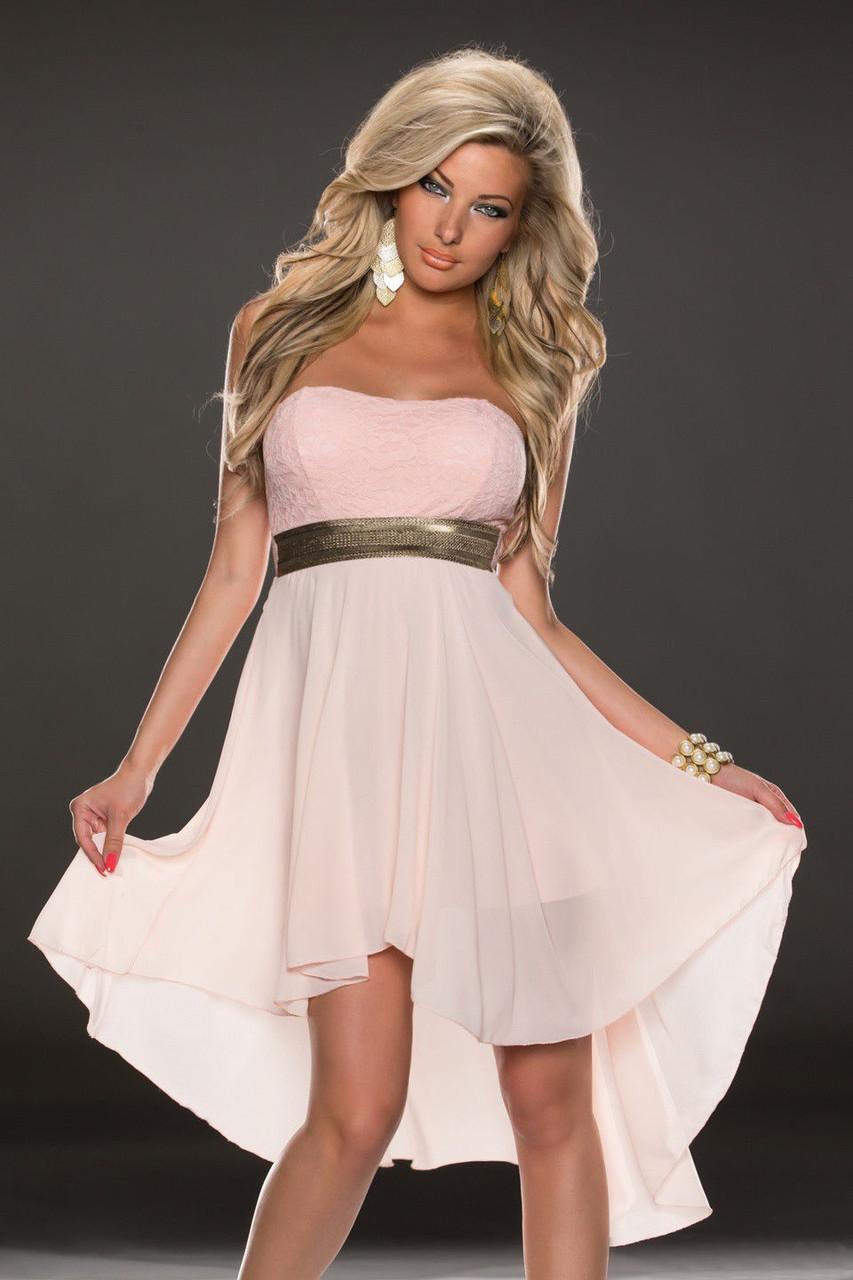 Нежно розовое шифоновое платье со шлейфом - фото 1