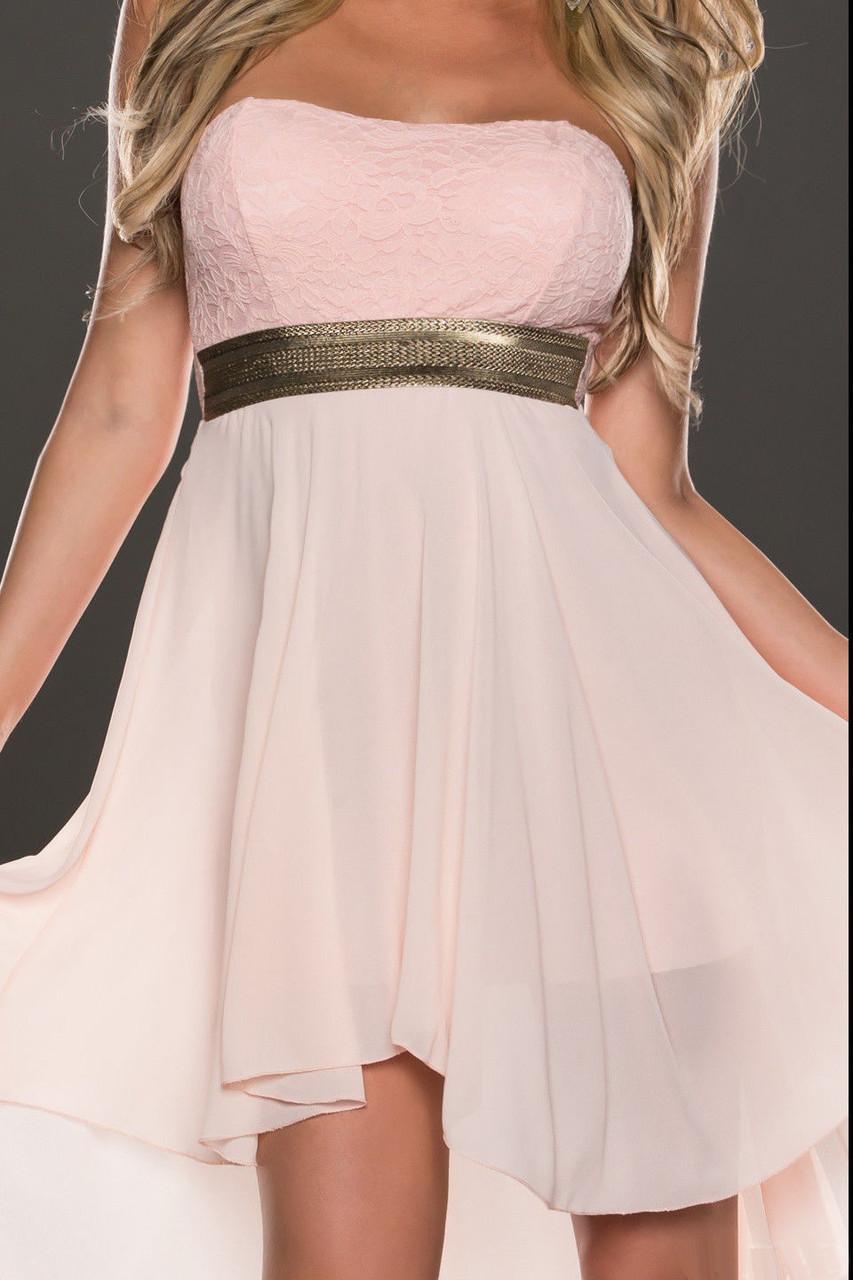 Нежно розовое шифоновое платье со шлейфом - фото 2