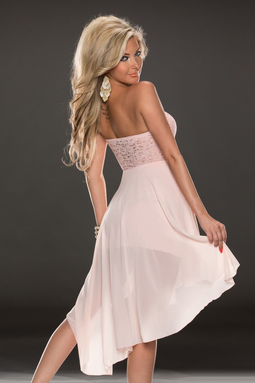 Нежно розовое шифоновое платье со шлейфом - фото 3