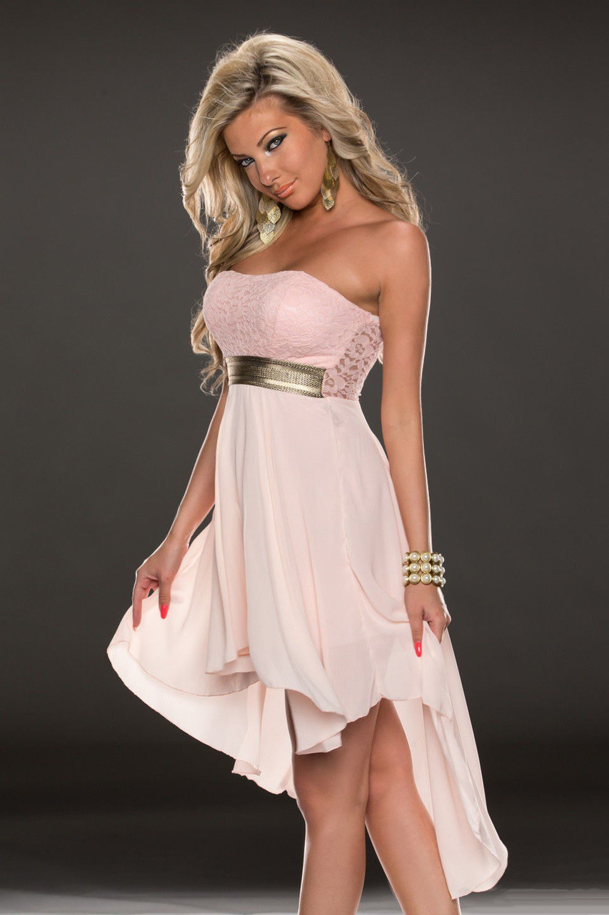 Нежно розовое шифоновое платье со шлейфом - фото 4