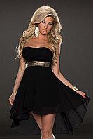 Черное шифоновое платье со шлейфом
