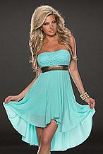 Голубое шифоновое платье со шлейфом
