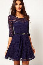 Синее гипюровое платье с поясом,пышная юбка