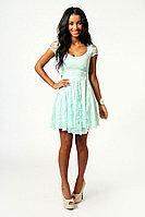 Ментоловое гипюровое пышное платье с коротким рукавомы M,XL