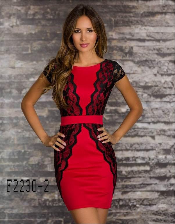 Красно-черное платье карандаш - фото 2