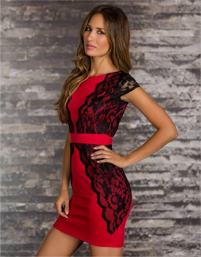 Красно-черное платье карандаш - фото 3