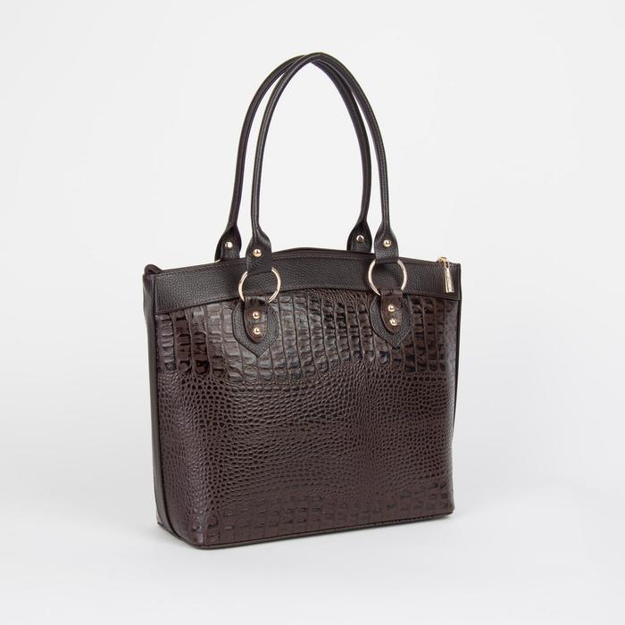 Сумка жен L31B, 31*12*27, отд на молнии, н/карман, коричневый кайман