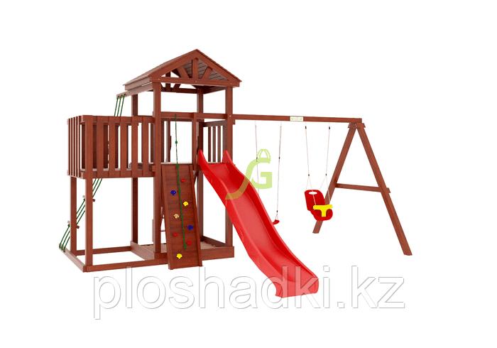 """IgraGrad   """"Панда Фани с балконом и сеткой"""", игровая башня, балкон, качели, веревочная лестница"""