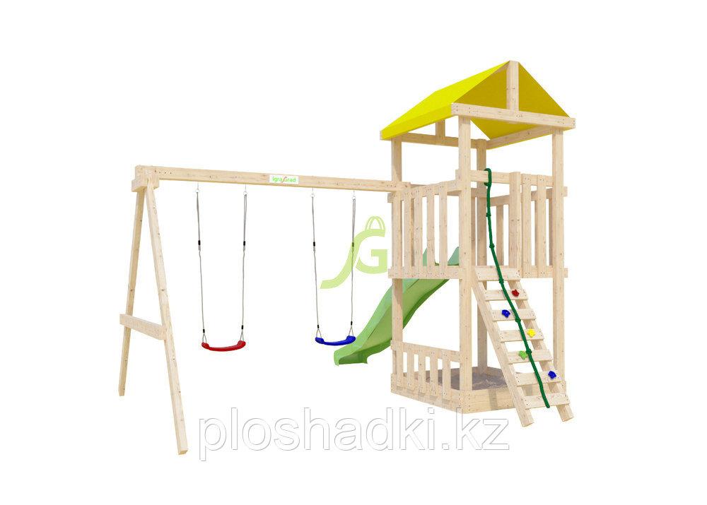 """IgraGrad """"Крафтик"""", двухуровневая башня, горка, деревянная лестница-скалодром, канат, качели"""