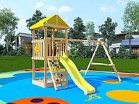 """IgraGrad """"Крафтик"""", двухуровневая башня, горка, деревянная лестница-скалодром, канат, качели, фото 1"""