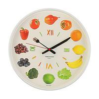"""Часы настенные круглые """"Овощи и фрукты"""", белый обод, 30х30 см , микс"""