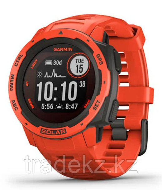 Часы для спорта Garmin Instinct Solar, GPS Watch, Flame Red, WW, (010-02293-20) с GPS навигатором