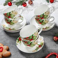 Сервиз чайный «Рождество», 12 предметов: 6 чашек 280 мл, 6 блюдец 15 см