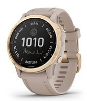 Спортивные часы Garmin fenix 6S Pro Solar, Lt.Gold w/ Lt. Sand Band, EMEA (010-02409-11) с GPS