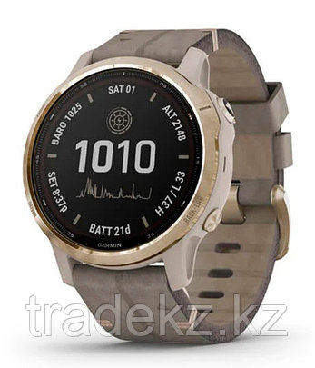 Спортивные часы Garmin fenix 6S Pro Solar, Lt Gold w/Shale Suede Band, EMEA (010-02409-26) с GPS навигатором, фото 2