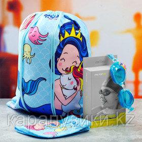Очки  шапочка  сумка для плавания детские  русалочка