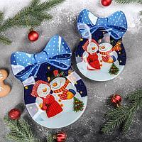 Набор сервировочных блюд «Бант. Счастливые снеговики», 2 шт: 18,5×13 см, 23×16,7 см