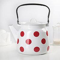 """Чайник сферический 3,5 л """"Красный горох"""", с петлёй, цвет белый"""
