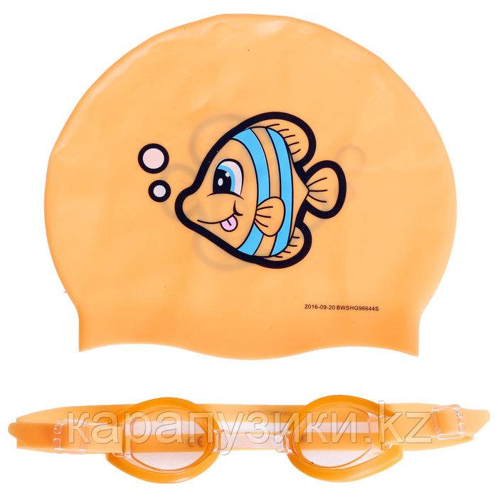 Очки шапочка силиконовая  для плавания набор