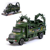 Грузовик инерционный «Военный автовоз» с джипом, фото 1
