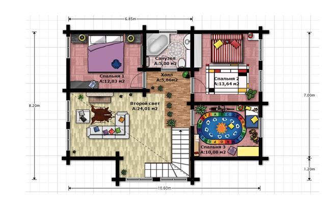 Проект 2-х этажного дома из бруса, план двухэтажного дома и строительство под ключ, проектирование и строительство деревянных домов.