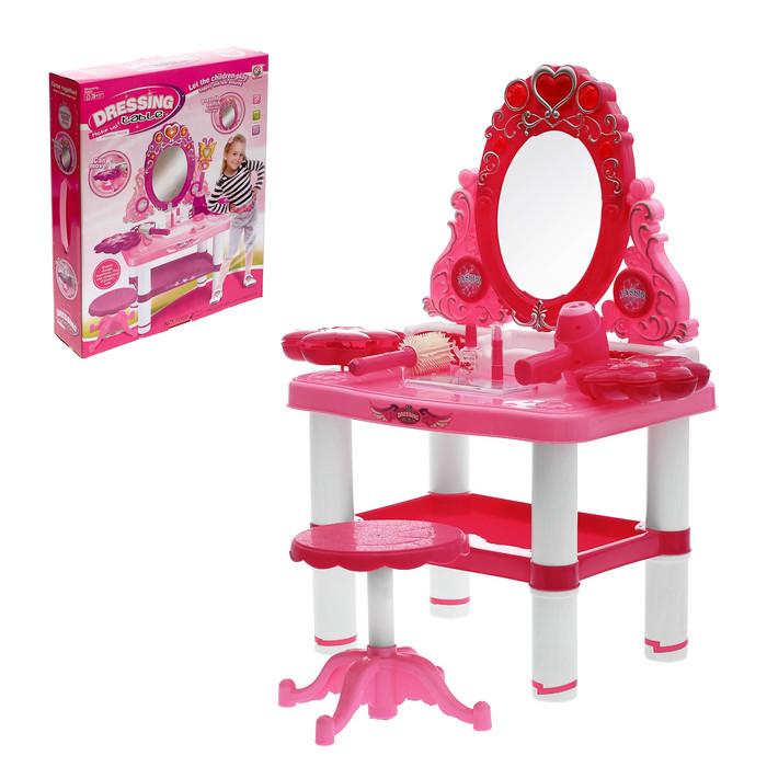 """Игровой набор """"Модница"""": столик с зеркалом, стульчик, волшебная палочка, фен, аксессуары, со светом и звуком,"""