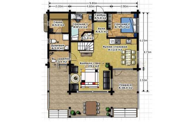 Проект 2-х этажного дома из бруса под ключ, план двухэтажного дома и строительство под ключ, проектирование и строительство деревянных домов.