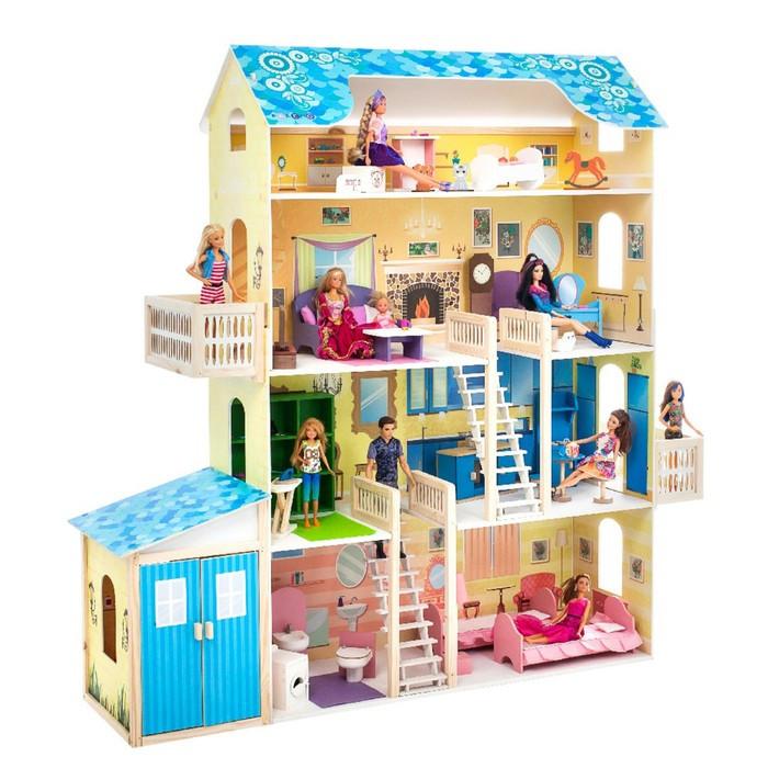 Кукольный домик «Лира», (28 предметов мебели, 2 лестницы, гараж)