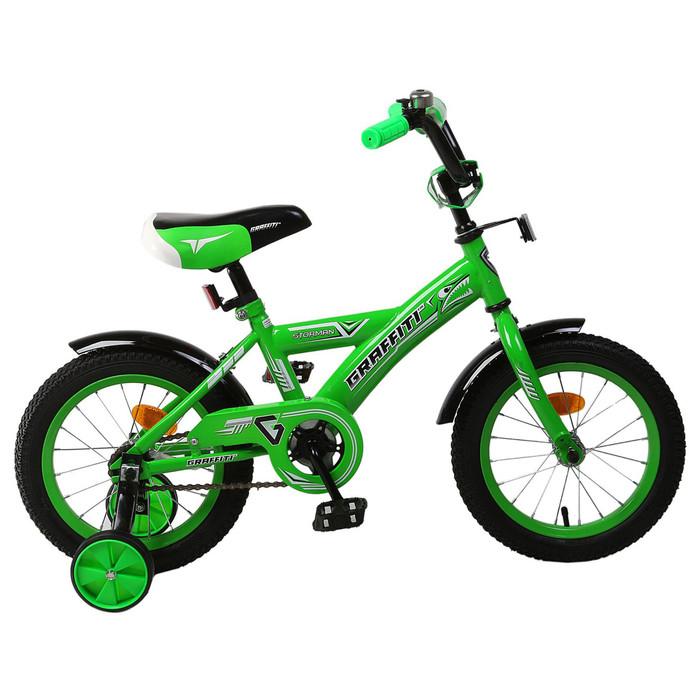 """Велосипед 14"""" Graffiti Storman RUS 2019, цвет зелёный"""
