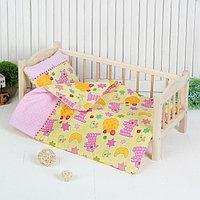 Постельное бельё для кукол «Кошки», простынь, одеяло, подушка, фото 1