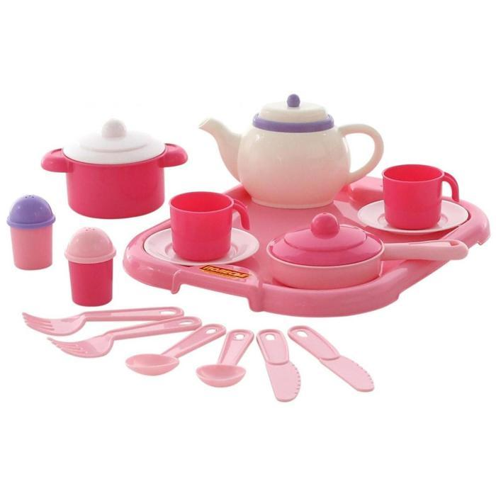 """Набор детской посуды """"Настенька"""" с подносом на 2 персоны, 19 элементов 59000"""