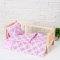 """Кукольное постельное""""Cовушки и звезды на розовом""""простынь 46*36,одеяло,46*36,подушка 23*17, фото 1"""