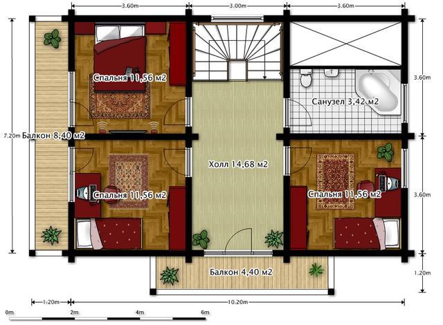 проекты деревянных домов с мансардой, план двухэтажного дома и строительство под ключ, проектирование и строительство деревянных домов.