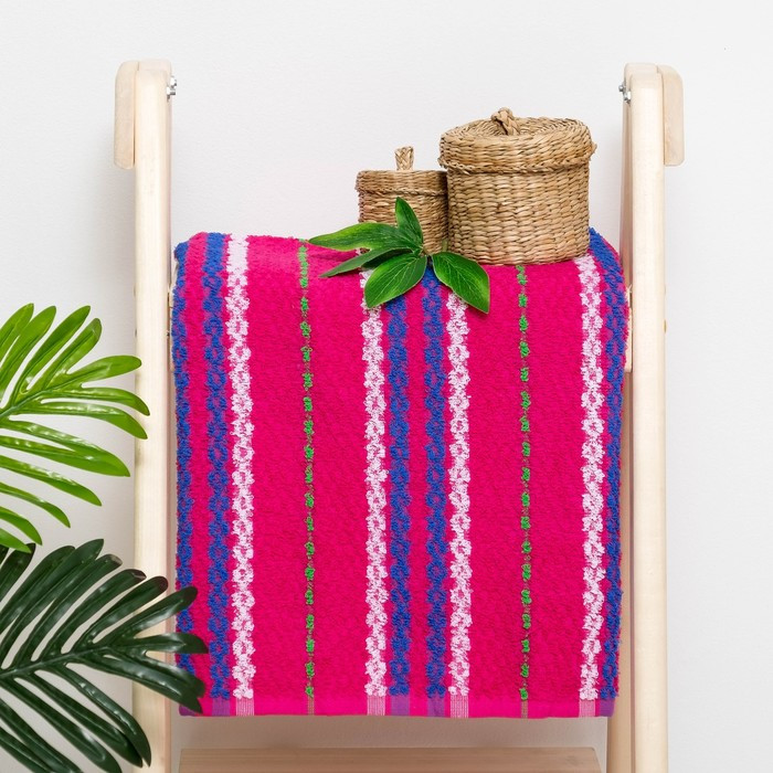 Полотенце махровое «Змейка», цвет розовый, размер 50х100 см