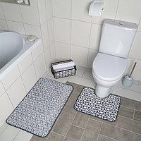 Набор ковриков для ванны и туалета «Винель», 2 шт: 40×50, 50×80 см, цвет серый