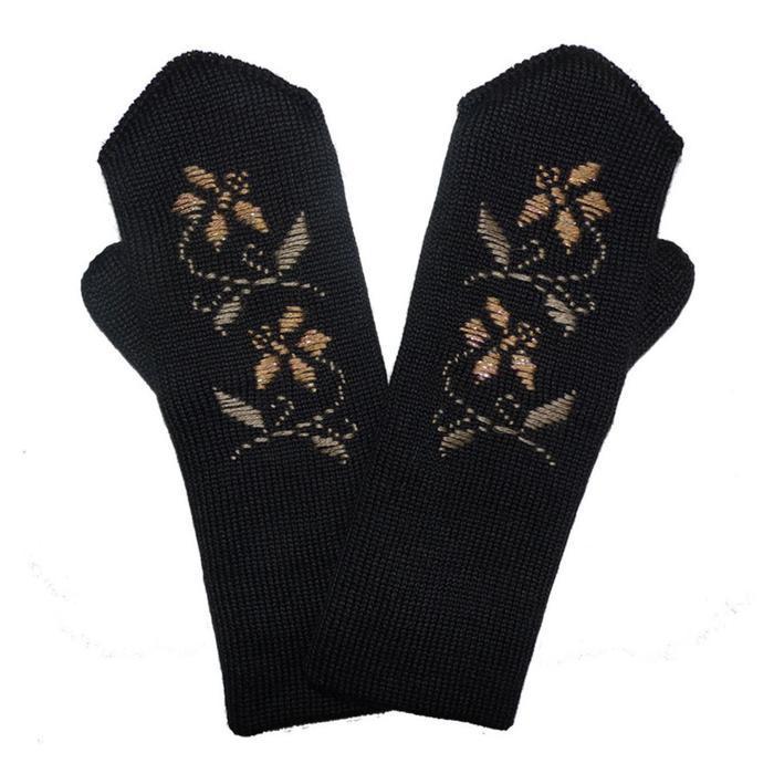 Варежки женские, цвет чёрный, размер 18