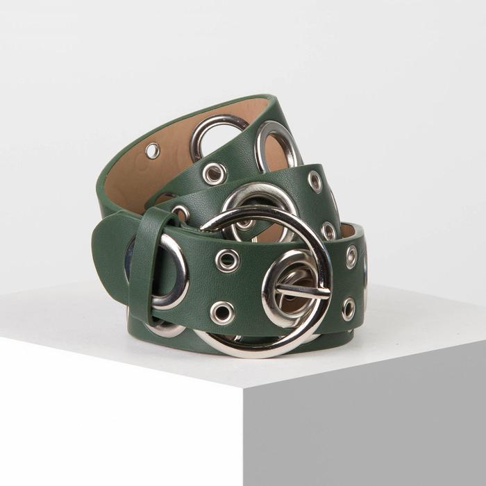 Ремень жен 07-01-02-01, 3,8*0,3*112, люверсы, пряжка металл, зеленый - фото 1