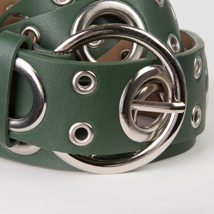 Ремень жен 07-01-02-01, 3,8*0,3*112, люверсы, пряжка металл, зеленый - фото 2