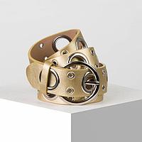 Ремень жен 07-01-02-01, 3,8*0,3*112, люверсы, пряжка металл, золотой