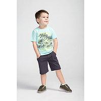 Комплект для мальчика (футболка, шорты), цвет мятный/тёмно-серый, рост 128 см (64)