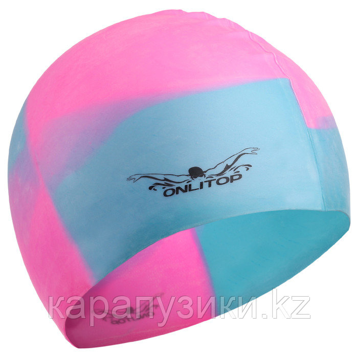 Шапка для бассейна подростковая  силикон розово голубая