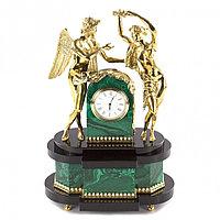 """Декоративные часы из малахита и бронзы """"Амур и Психея"""""""