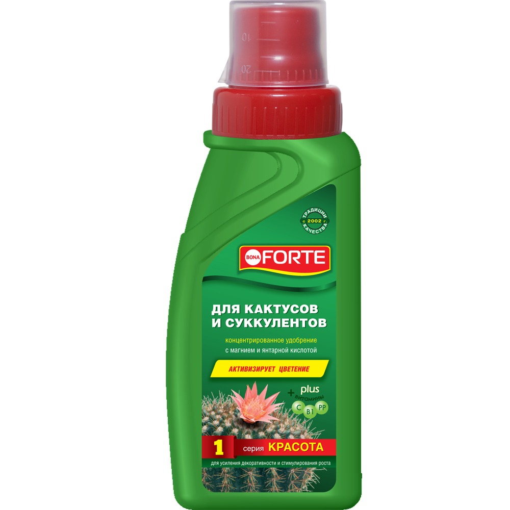 Bona Forte Красота Жидкое минеральное удобрение Для кактусов, флакон  285 мл