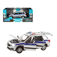 Машина металлическая «Lada Полиция» 1:24, цвет серебряный, открываются двери, капот и багажник, световые и, фото 1