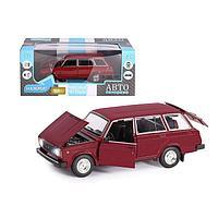 Машина металл «ВАЗ 2104» 1:24, инерция, цвет бордовый, открываются двери, капот и багажник, фото 1
