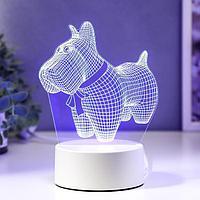 """Светильник """"Собачка с бантиком"""" LED RGB от сети"""