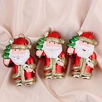 """Украшение ёлочное """"Дед Мороз с леденцом"""" 6,5х10 см (набор 3 шт)"""