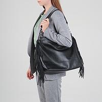 Сумка жен L72B, 36*15*30, отд на молнии, н/карман, черный