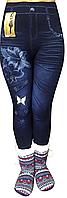 Лосины джинсовые CLASSIC с нашивкой (с начесом)