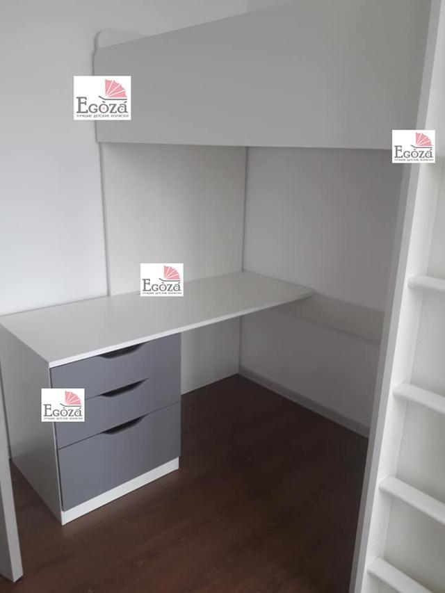 Кровать чердак Polini Simple с рабочей зоной и шкафом